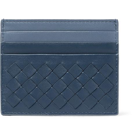 Bottega Veneta Two-Tone Intrecciato Leather Cardholder In Blue
