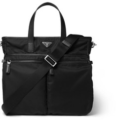 Prada Leather-Trimmed Nylon Tote Bag