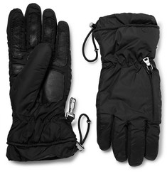 Prada Leather-Trimmed Nylon Gloves