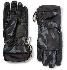 Prada Leather-Trimmed Camouflage-Print Nylon Gloves