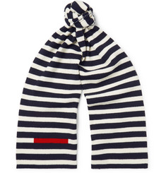 Prada Striped Ribbed Virgin Wool Scarf