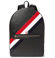 Thom Browne Striped Pebble-Grain Leather Backpack