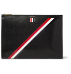 Thom Browne - Striped Pebble-Grain Leather Pouch