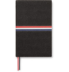 Thom Browne - Large Striped Pebble-Grain Leather Notebook