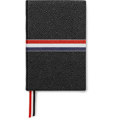 Thom Browne Small Striped Pebble-Grain Leather Notebook