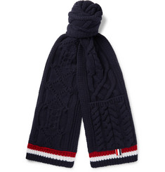 Thom Browne Striped Aran Merino Wool Scarf