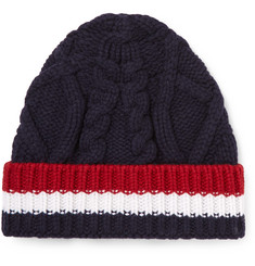 Thom Browne Striped Cable-Knit Wool Beanie