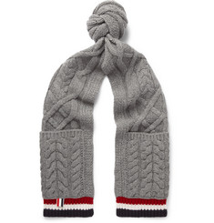 Thom Browne Striped Cable-Knit Wool Scarf