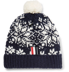 Thom Browne Fair Isle Wool and Mohair-Blend Bobble Hat