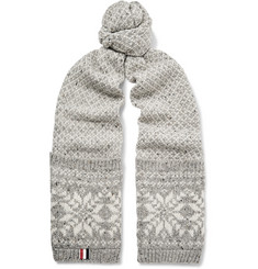 Thom Browne Fair Isle Wool and Mohair-Blend Scarf