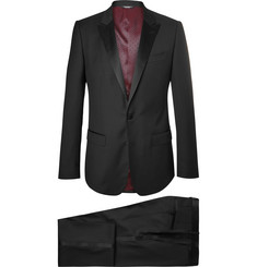 Dolce & Gabbana Black Slim-Fit Satin-Trimmed Virgin Wool-Blend Three-Piece Tuxedo