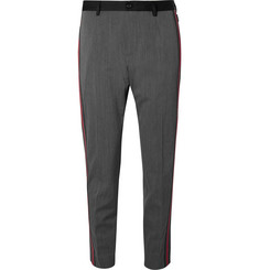Dolce & Gabbana Slim-Fit Grosgrain-Trimmed Stretch Wool-Blend Gabardine Trousers