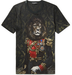 Dolce & Gabbana Lion Printed Cotton-Jersey T-Shirt