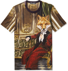 Dolce & Gabbana Fox Printed Cotton-Jersey T-Shirt