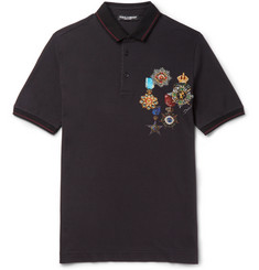 Dolce & Gabbana Contrast-Tipped Printed Cotton-Piqué Polo Shirt