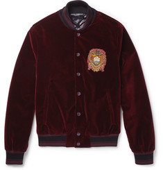 Slim-fit Embellished Cotton-velvet Bomber Jacket  Burgundy