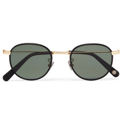 Cubitts Bingfield Round-Frame Black and Gold-Tone Metal Sunglasses