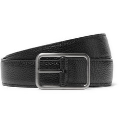 Lanvin 3cm Black and Brown Reversible Pebble-Grain Leather Belt