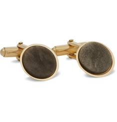 Lanvin Gold-Plated Obsidian Cufflinks