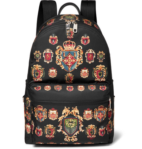 Leather-trimmed Printed Shell Backpack - Black