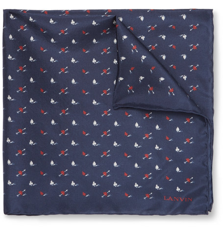 Lanvin Mixed-Print Silk Pocket Square In Navy