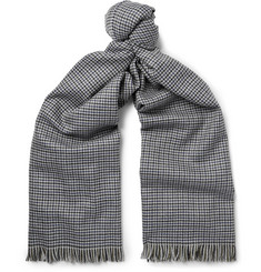 Lanvin Fringed Puppytooth Wool Scarf