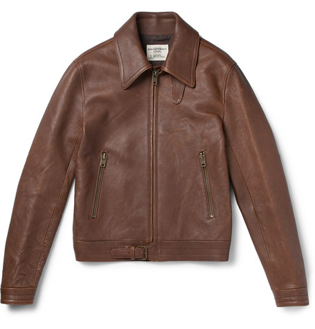 Kapore Full-grain Leather Bomber Jacket - Brown