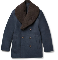 Kent & Curwen Shearling-Trimmed Felted Wool-Blend Peacoat