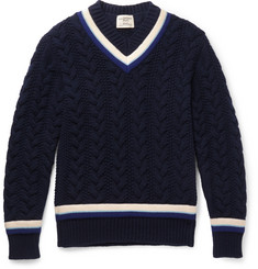 Kent & Curwen Woodvale Cable-Knit Wool Cricket Sweater