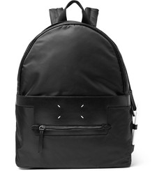 Maison Margiela Leather-Trimmed Nylon Backpack
