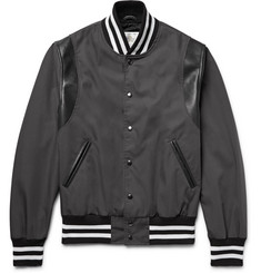 Golden Bear Leather-Panelled Poplin Bomber Jacket