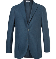 Boglioli Blue Slim-Fit Mélange Virgin Wool Blazer