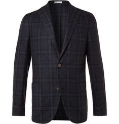 Boglioli Navy Slim-Fit Checked Wool and Cashmere-Blend Blazer