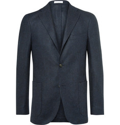 Boglioli Blue Slim-Fit Herringbone Slub Virgin Wool Blazer