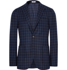 Boglioli Blue K-Jacket Slim-Fit Checked Wool Blazer