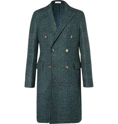 Boglioli Double-Breasted Prince of Wales Checked Wool-Blend Bouclé Coat