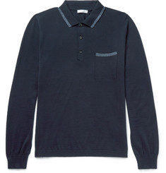 Boglioli Contrast-Tipped Virgin Wool Polo Shirt