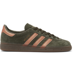 adidas Originals Munchen Metallic Leather-Trimmed Suede Sneakers