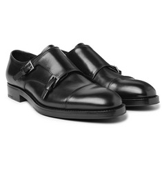 Prada - Cap-Toe Leather Monk-Strap Shoes