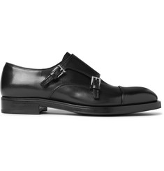 Prada Cap-Toe Leather Monk-Strap Shoes
