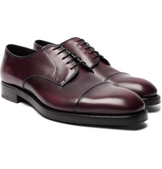 Prada - Cap-Toe Burnished-Leather Derby Shoes
