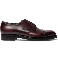 Prada Cap-Toe Burnished-Leather Derby Shoes