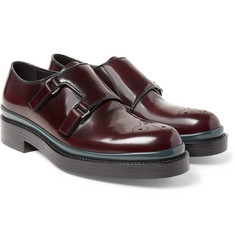 Prada - Burnished-Spazzolato Leather Monk-Strap Shoes