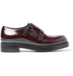 Prada Burnished-Spazzolato Leather Monk-Strap Shoes