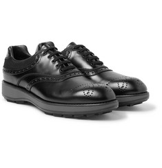 Prada - Mesh-Panelled Leather Oxford Brogues
