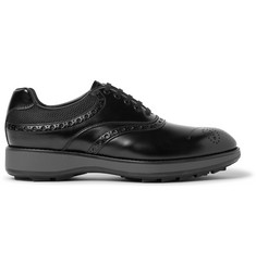 Prada Mesh-Panelled Leather Oxford Brogues