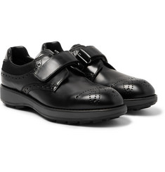Prada - Mesh-Panelled Polished-Leather Derby Brogues