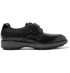 Prada Mesh-Panelled Polished-Leather Derby Brogues