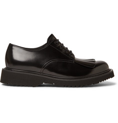 Prada Spazzolato Leather Kiltie Derby Shoes