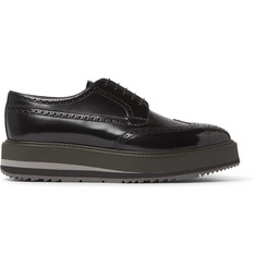 Prada Polished-Leather Wingtip Brogues
